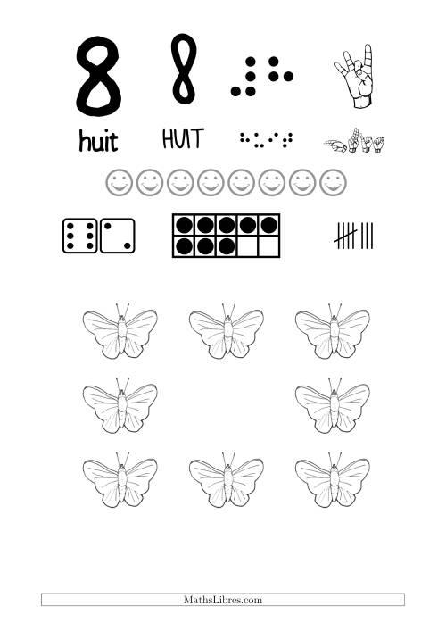 La Reconnaissance de Nombre 8 avec Comme Thème un Papillon Fiche d'Exercices sur le Sens des Nombres