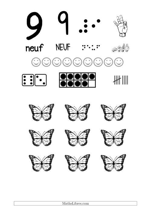 La Reconnaissance de Nombre 9 avec Comme Thème un Papillon Fiche d'Exercices sur le Sens des Nombres