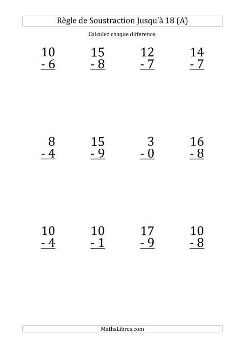 La 12 Questions sur la Règle de Soustraction avec un Diminuende de 0 à 18 (A) Fiche d'Exercices sur la Soustraction