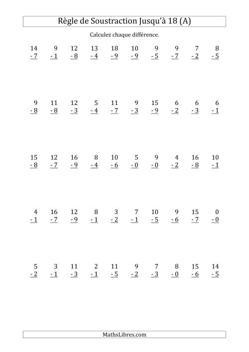 La 50 Questions sur la Règle de Soustraction avec un Diminuende de 0 à 18 (A) Fiche d'Exercices sur la Soustraction