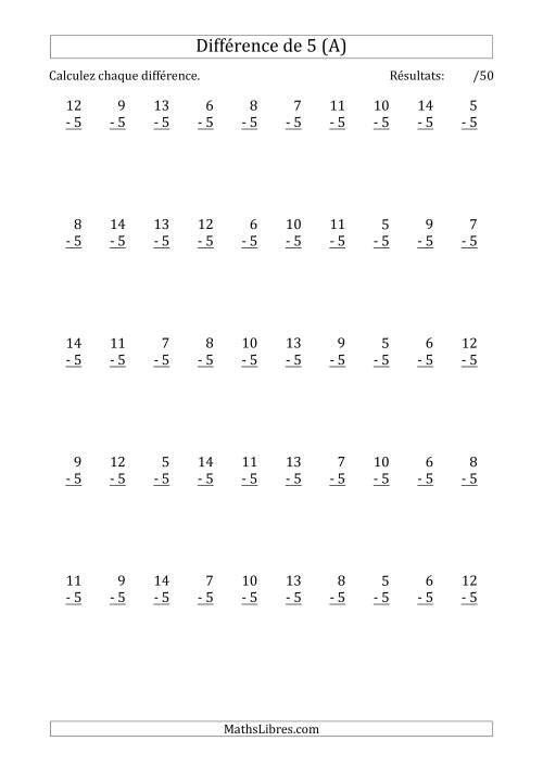 La 50 Questions sur la Différence de 5 (A) Fiche d'Exercices sur la Soustraction