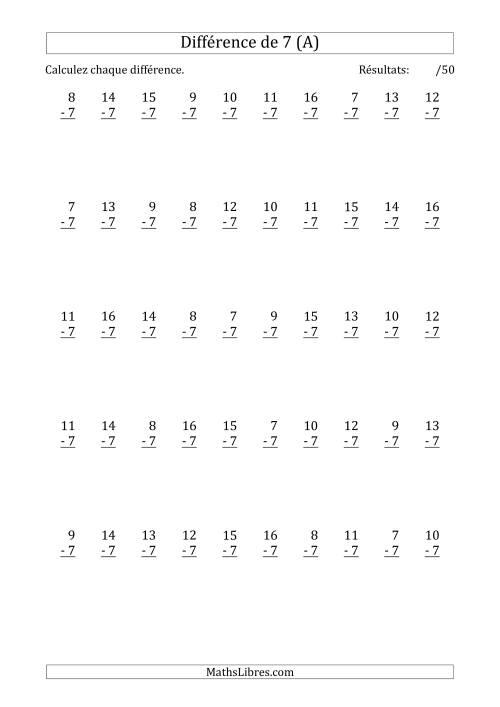 La 50 Questions sur la Différence de 7 (A) Fiche d'Exercices sur la Soustraction