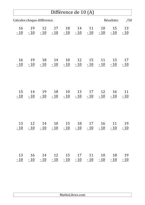 La 50 Questions sur la Différence de 10 (A) Fiche d'Exercices sur la Soustraction
