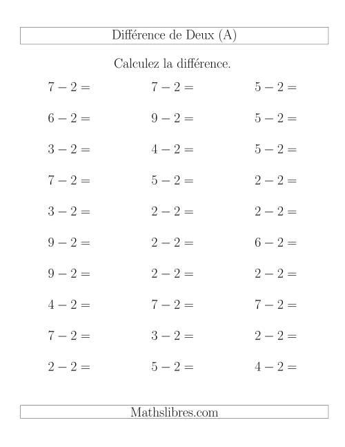 La Règles de Soustraction -- Différence de 2 (A) Fiche d'Exercices de Soustraction