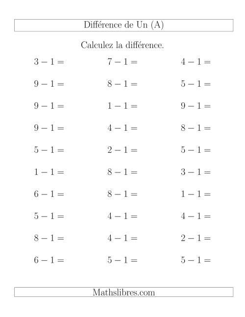 La Règles de Soustraction -- Différence de 1 (A) Fiche d'Exercices de Soustraction