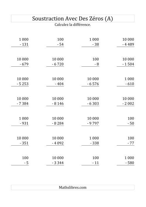 La Soustraire 100, 1 000 & 10 000 (Mélangés) (A) Fiche d'Exercices sur la Soustraction