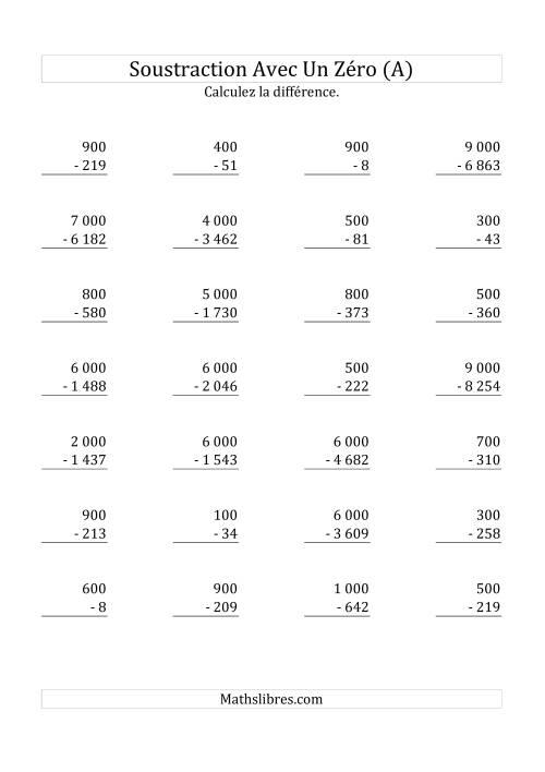 La Soustraire les multiples de 100 & 1 000 (Mélangés) (A) Fiche d'Exercices sur la Soustraction