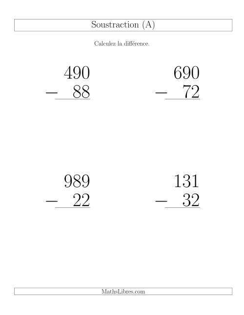 La Soustraction Multi-Chiffres -- 3-chiffres moins 2-chiffres (6 par page) (A) Fiche d'Exercices de Soustraction