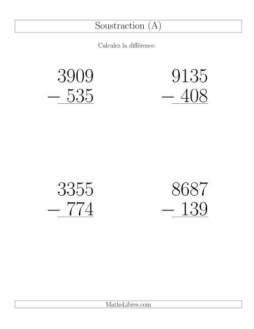 La Soustraction Multi-Chiffres -- 4-chiffres moins 3-chiffres (6 par page) (A) Fiche d'Exercices de Soustraction