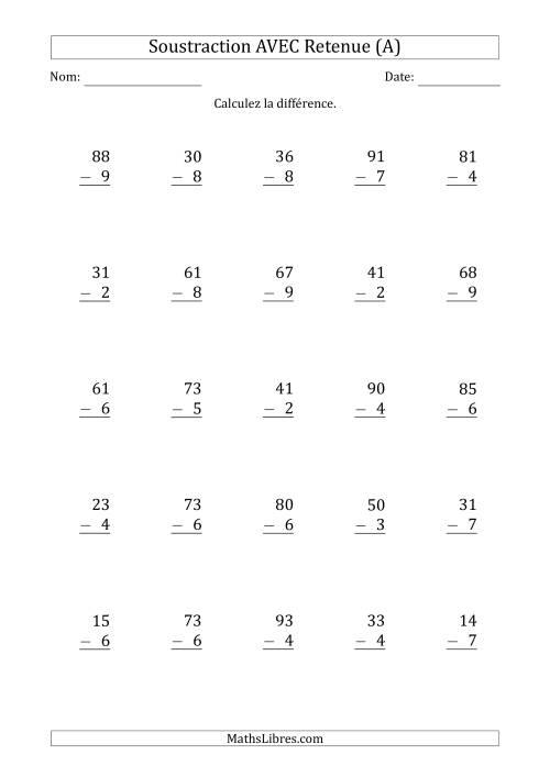 Soustraction d 39 un nombre 2 chiffres par un nombre 1 chiffre avec retenue a - Soustraction avec retenue cm1 ...