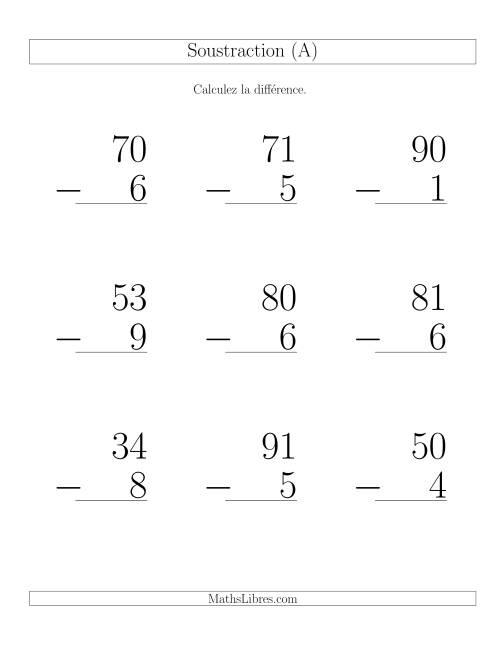 La Soustraction 2-Chiffres Moins 1-Chiffre avec retenue (A) Fiche d'Exercices de Soustraction