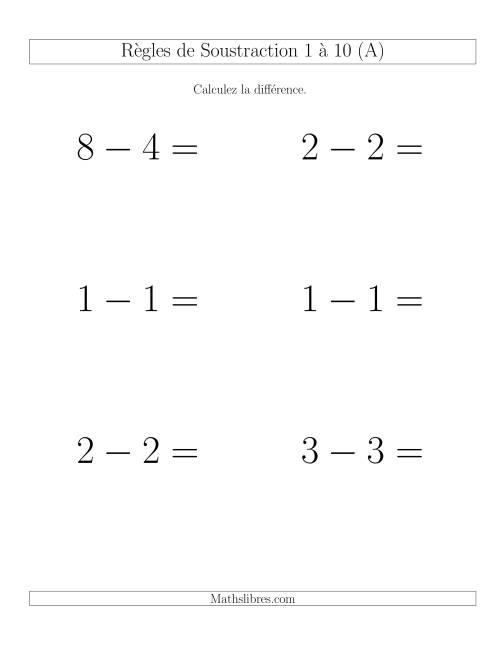 La Soustraction 1 à 10 -- Horizontale (A) Fiche d'Exercices de Soustraction