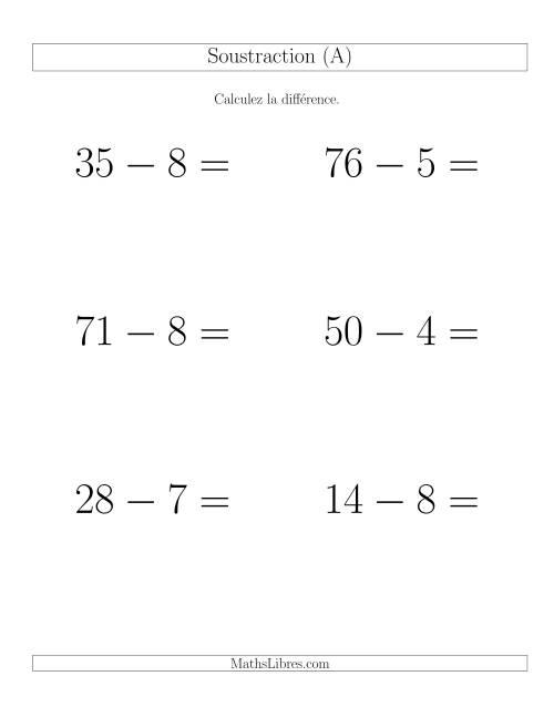 La Soustraction Multi-Chiffres -- 2-chiffres moins 1-chiffre -- Hotizontale (A) Fiche d'Exercices de Soustraction
