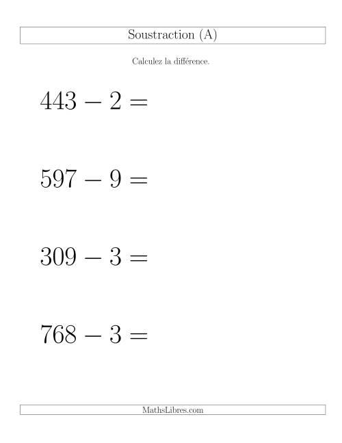 La Soustraction Multi-Chiffres -- 3-chiffres moins 1-chiffre -- Hotizontale (A) Fiche d'Exercices de Soustraction