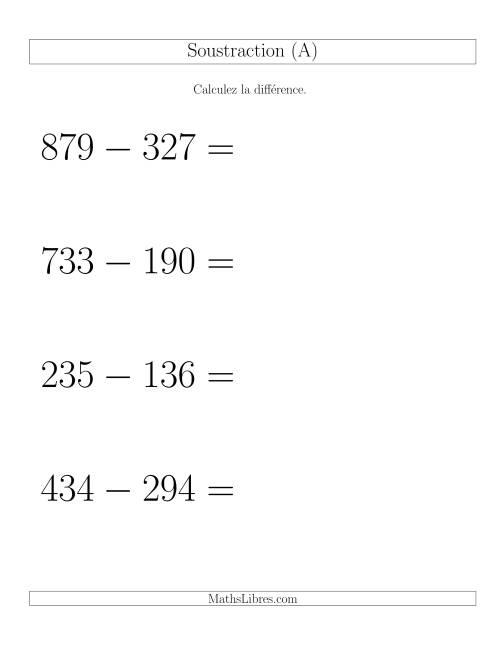 La Soustraction Multi-Chiffres -- 3-chiffres moins 3-chiffres -- Hotizontale (A) Fiche d'Exercices de Soustraction