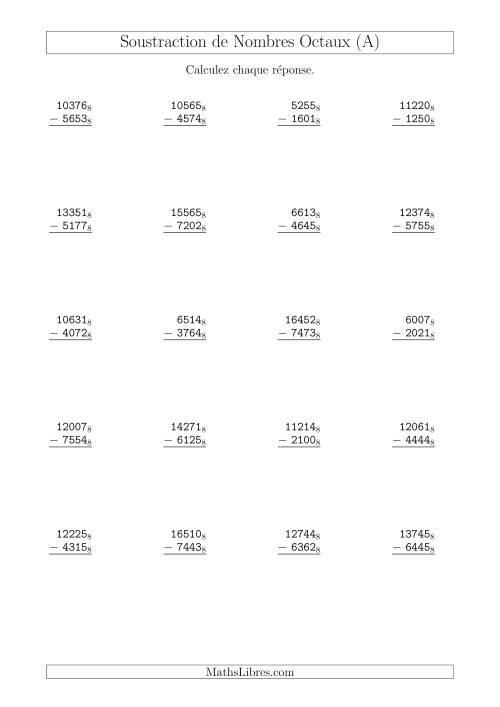La Soustraction de Nombres Octaux (Base 8) (A) Fiche d'Exercices sur les Opérations Mixtes