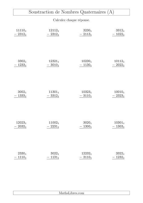 La Soustraction de Nombres Quaternaires (Base 4) (A) Fiche d'Exercices sur les Opérations Mixtes