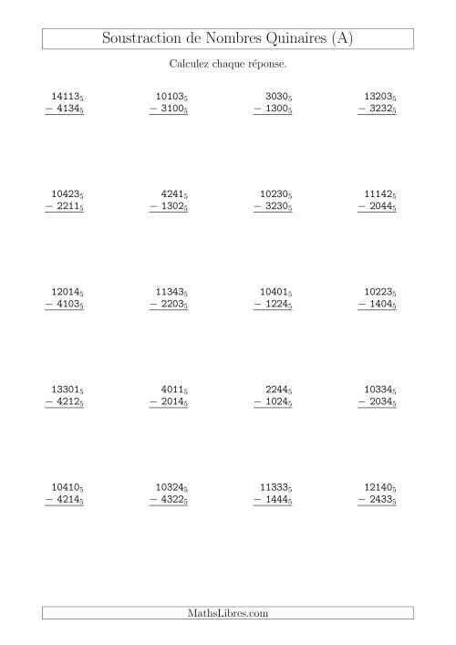 La Soustraction de Nombres Quinaires (Base 5) (A) Fiche d'Exercices sur les Opérations Mixtes