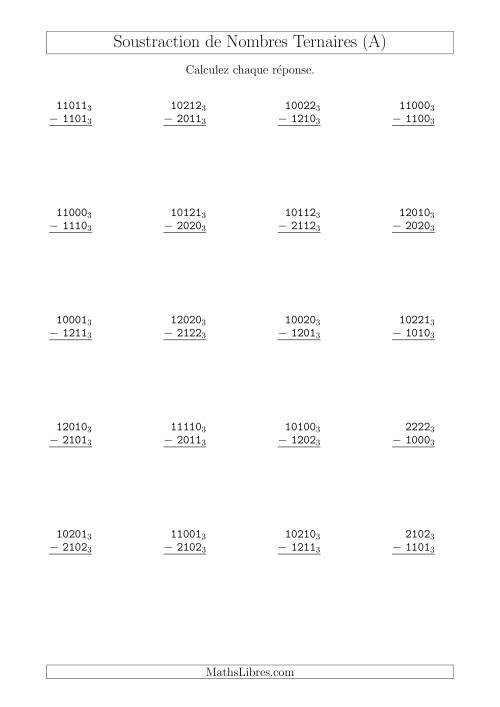 La Soustraction de Nombres Ternaires (Base 3) (A) Fiche d'Exercices sur les Opérations Mixtes