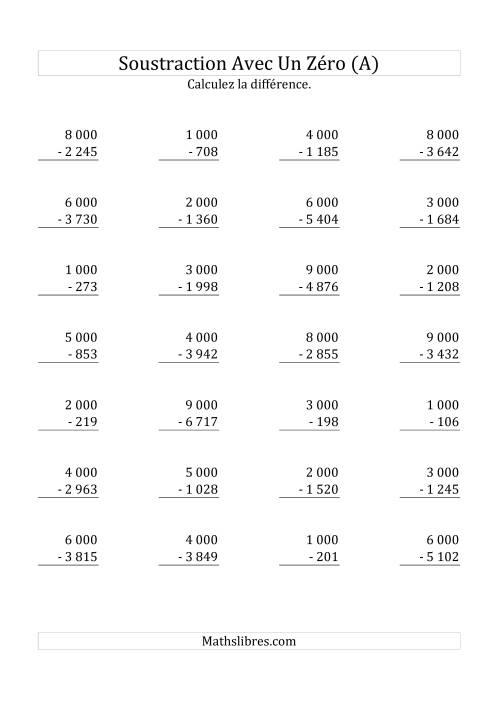 La Soustraire les multiples de 1 000 (A) Fiche d'Exercices sur la Soustraction