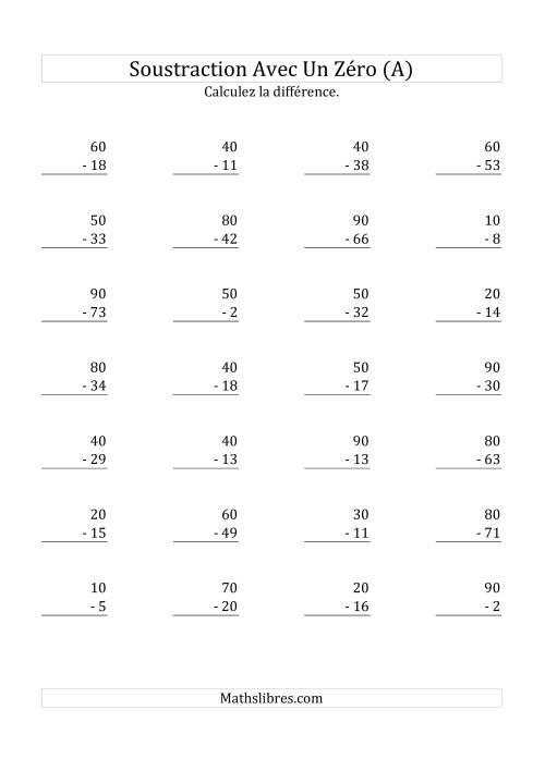 La Soustraire les multiples de 10 (A) Fiche d'Exercices sur la Soustraction