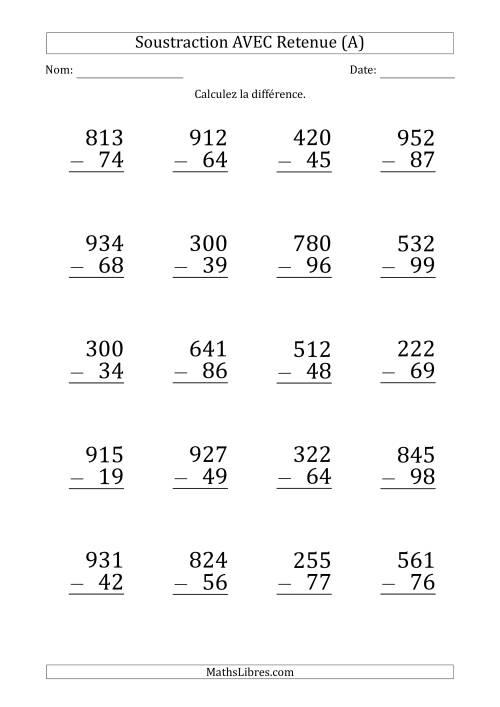 Soustraction d 39 un nombres 3 chiffres par un nombre 2 chiffres avec retenue gros caract re a - Soustraction ce2 a imprimer ...