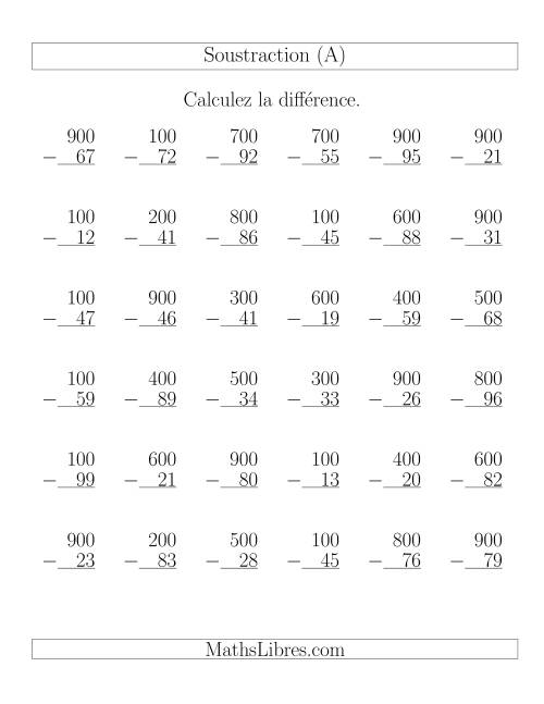 La Soustraction Multi-Chiffres -- Chiffres ronds (A) Fiche d'Exercices de Soustraction