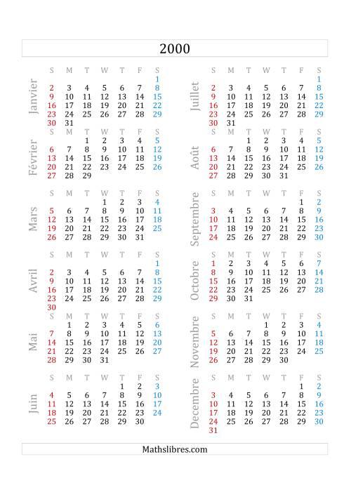 La Calendrier de l'Année 2000 (A) Fiche d'Exercices sur le Temps