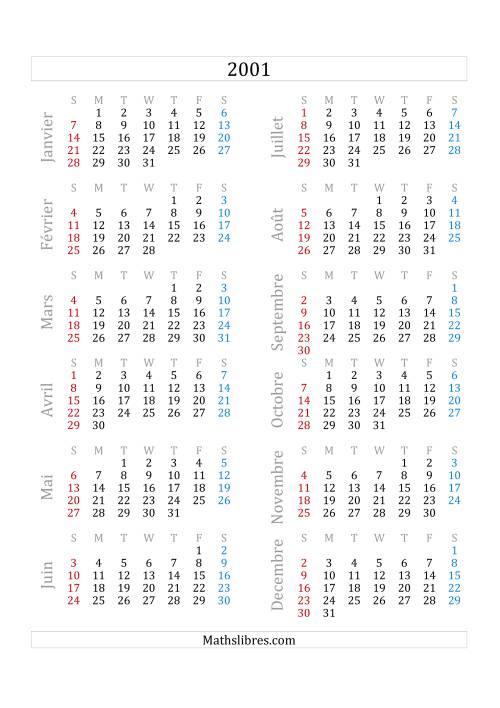 La Calendrier de l'Année 2001 (A) Fiche d'Exercices sur le Temps