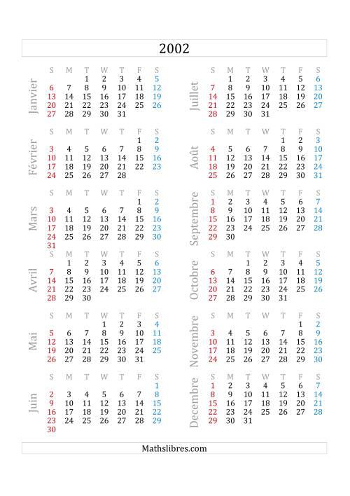 La Calendrier de l'Année 2002 (A) Fiche d'Exercices sur le Temps