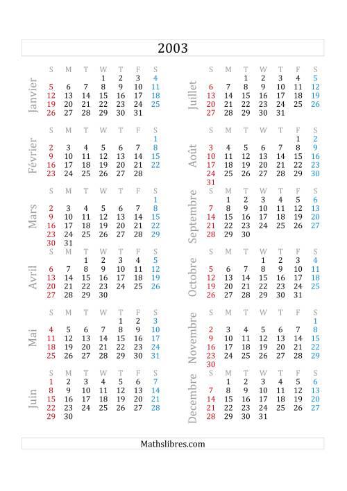 La Calendrier de l'Année 2003 (A) Fiche d'Exercices sur le Temps