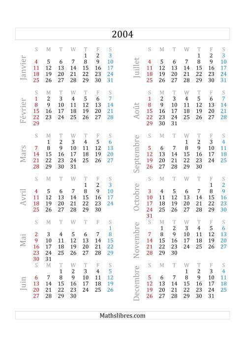 La Calendrier de l'Année 2004 (A) Fiche d'Exercices sur le Temps