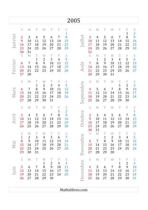 La Calendrier de l'Année 2005 (A) Fiche d'Exercices sur le Temps