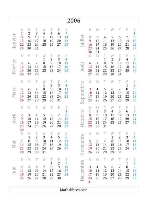 La Calendrier de l'Année 2006 (A) Fiche d'Exercices sur le Temps