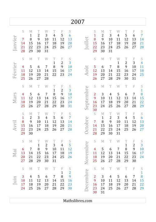 La Calendrier de l'Année 2007 (A) Fiche d'Exercices sur le Temps