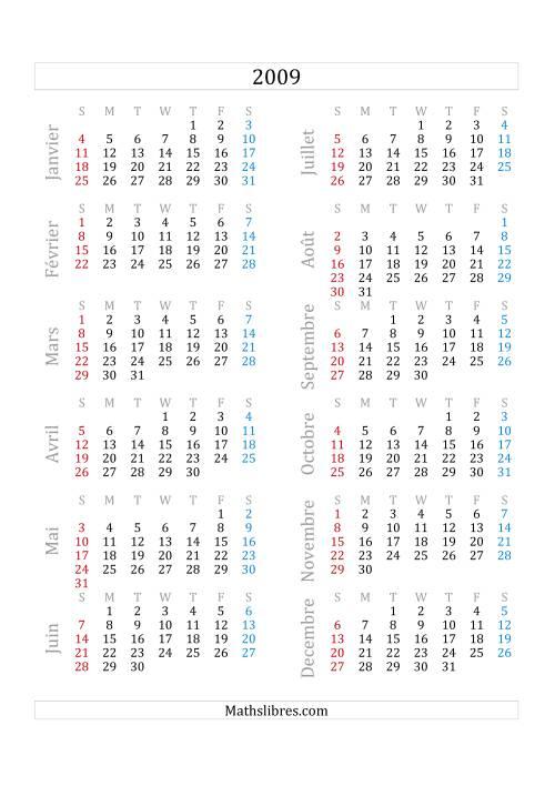 La Calendrier de l'Année 2009 (A) Fiche d'Exercices sur le Temps