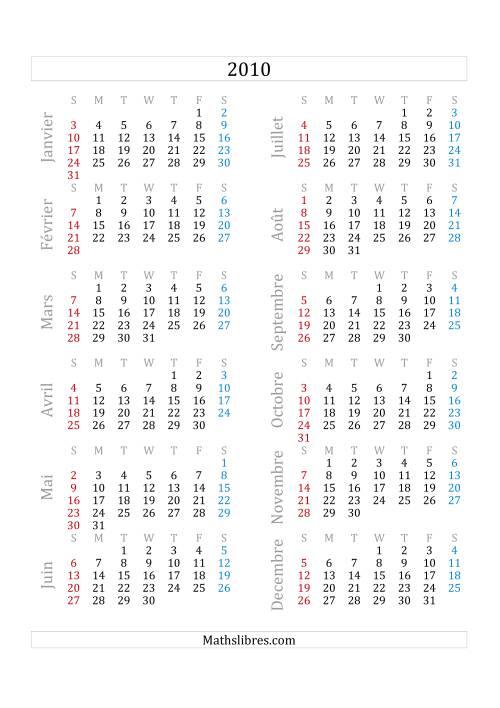 La Calendrier de l'Année 2010 (A) Fiche d'Exercices sur le Temps