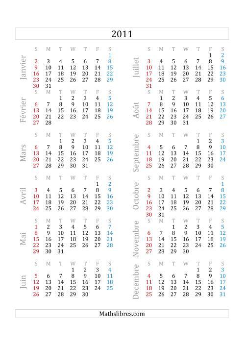 La Calendrier de l'Année 2011 (A) Fiche d'Exercices sur le Temps
