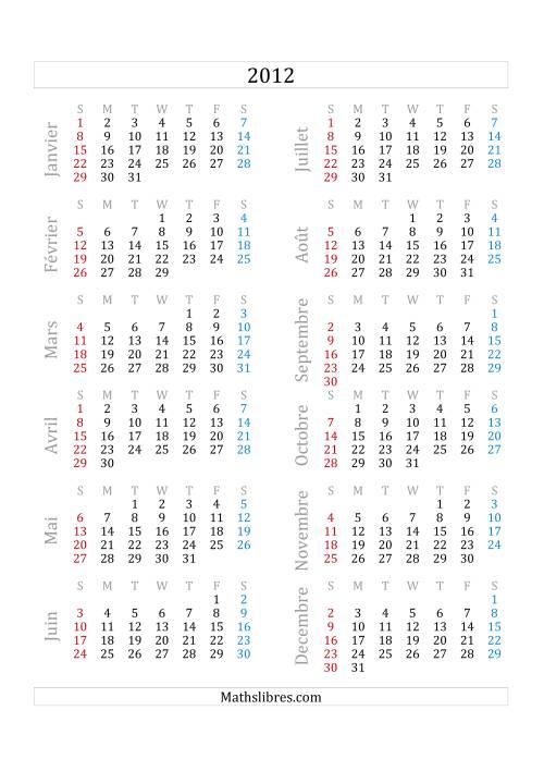 La Calendrier de l'Année 2012 (A) Fiche d'Exercices sur le Temps
