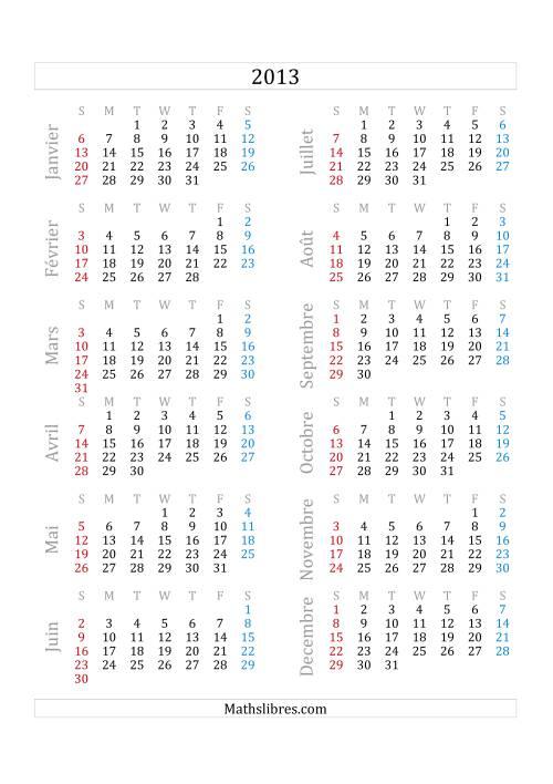 La Calendrier de l'Année 2013 (A) Fiche d'Exercices sur le Temps