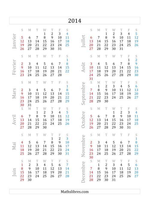 La Calendrier de l'Année 2014 (A) Fiche d'Exercices sur le Temps