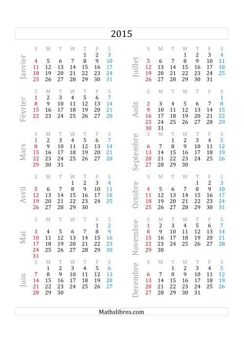 La Calendrier de l'Année 2015 (A) Fiche d'Exercices sur le Temps