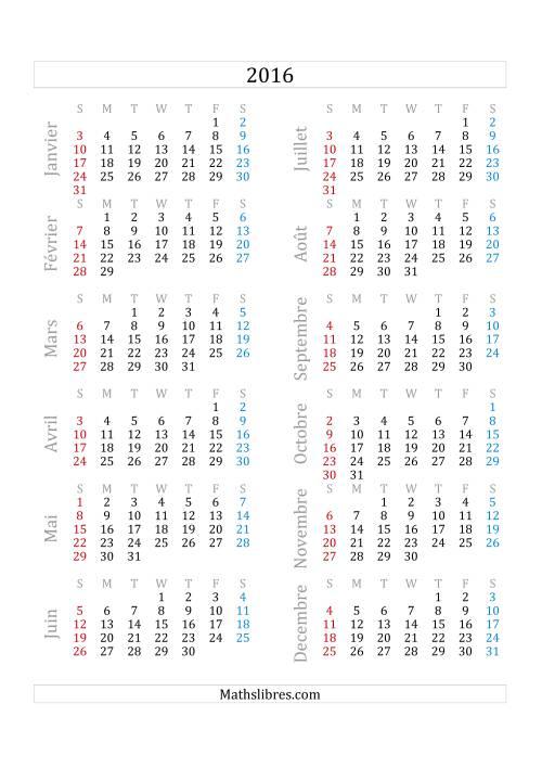 La Calendrier de l'Année 2016 (A) Fiche d'Exercices sur le Temps