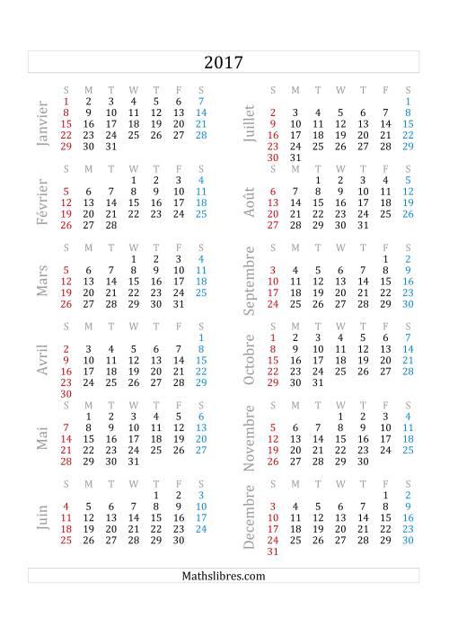 La Calendrier de l'Année 2017 (A) Fiche d'Exercices sur le Temps