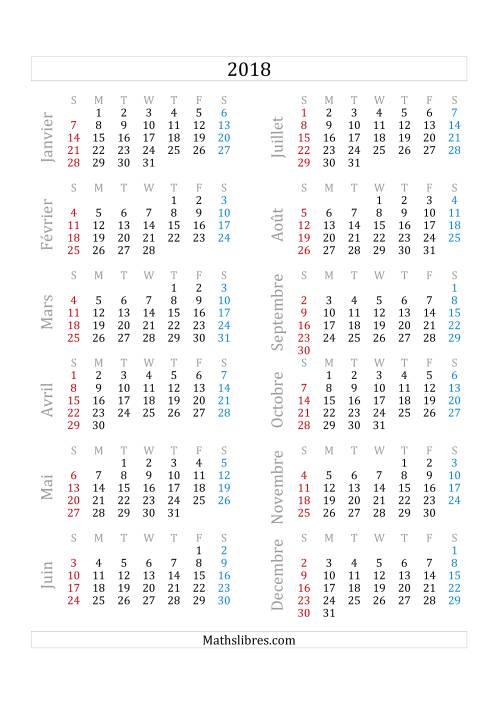 La Calendrier de l'Année 2018 (A) Fiche d'Exercices sur le Temps