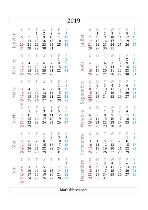 La Calendrier de l'Année 2019 (A) Fiche d'Exercices sur le Temps