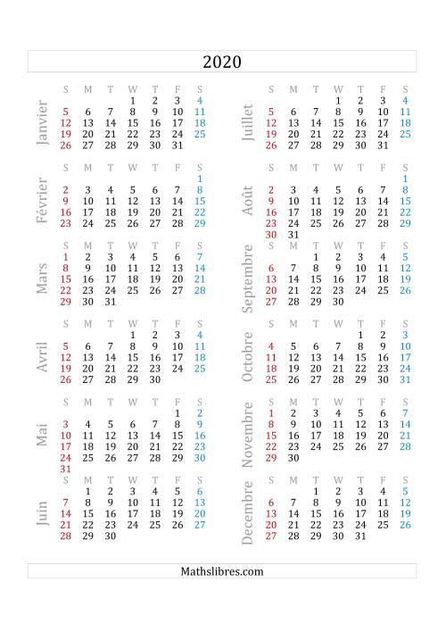 La Calendrier de l'Année 2020 (A) Fiche d'Exercices sur le Temps