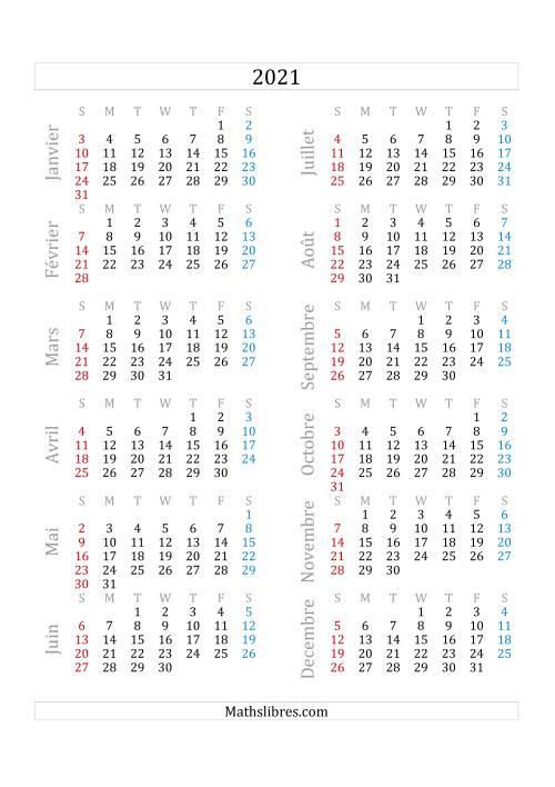 La Calendrier de l'Année 2021 (A) Fiche d'Exercices sur le Temps