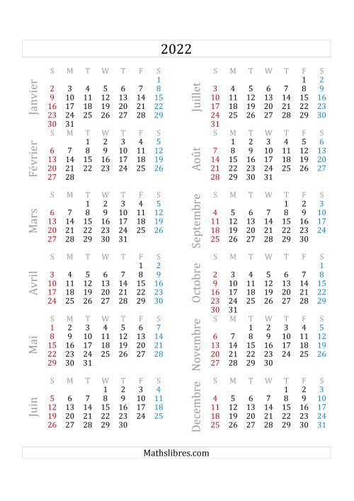 La Calendrier de l'Année 2022 (A) Fiche d'Exercices sur le Temps