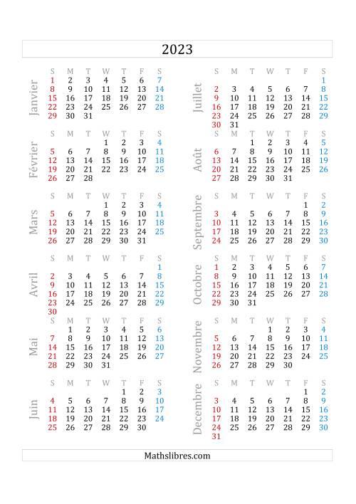 La Calendrier de l'Année 2023 (A) Fiche d'Exercices sur le Temps